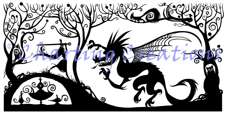 The Princess And The Dragon Silhouette Large